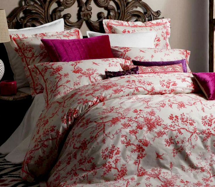 We just can't get enough of this Florence Broadhurst The Cranes quilt cover set http://www.beddingco.com.au/florence-broadhurst-crane-coral.html