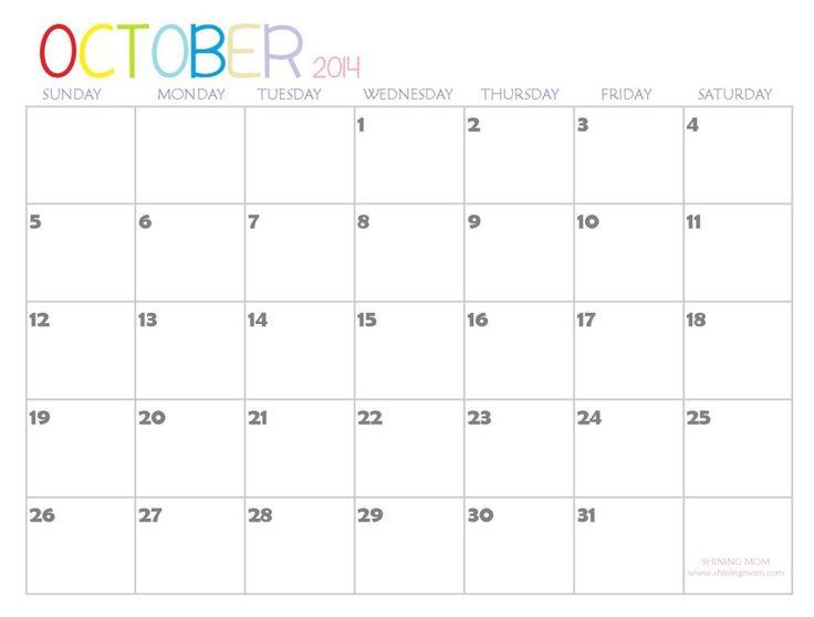 Blank October 2014 Calendar Printable Templates