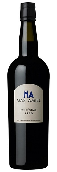 Mas Amiel Maury 1980 - (90% Grenache, 5% Maccabeu, 5% Carignan)   Maury, Roussillon  Attractive red-mocha hue with an intense bouquet of dark chocolate, baked fig and peppermint. Bold, powerful palate showcasing striking freshness, tender tannins and gorgeous notes of nougat, roasted walnuts and dried fruit. A unique wine experience!  Drink with mature cheese, lamb tagine, or chocolate coffee mascarpone. Decant an hour before use.  16.5% ABV