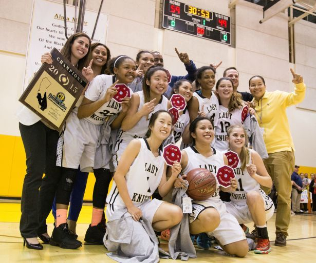 Bishop Montgomery celebrates after defeating JSerra 59-49 in the CIF-SS Division 4AA final at Godinez High School on Friday, March 6. PHOTO BY JOSH BARBER.
