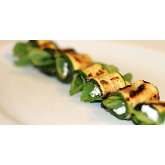 Healthy starter, courgette wrap