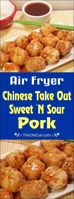 Air Fryer Chinese Take Out Sweet 'N Sour Pork is a healthier option than the deep fried version and is made at home in less than 30 minutes. via @thisoldgalcooks