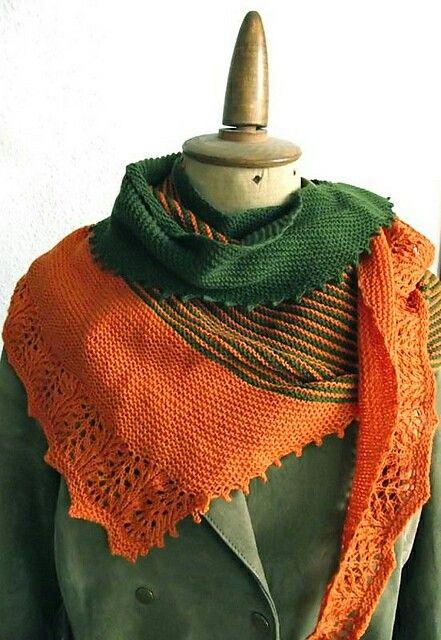 Zephyr cove shawl, orange - green
