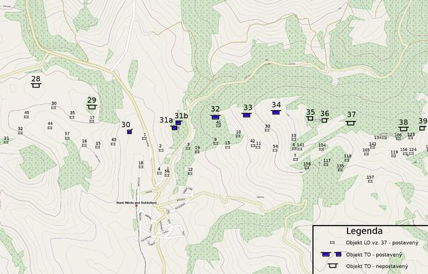 Mapa linie LO a TO v okolí Starého Města