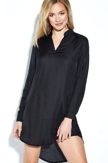 Black Casual See-through Chiffon V-neck Curved Mini Dress