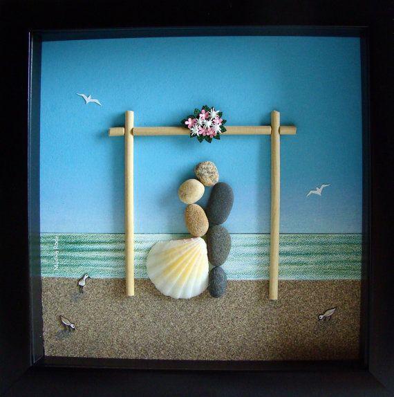 Pebble Art Wedding Gift- Unique Engagement Gift- Unique WEDDING Gift- Customized Wedding Gift- Personalized Wedding Gift- Pebble Art – Cool stuff
