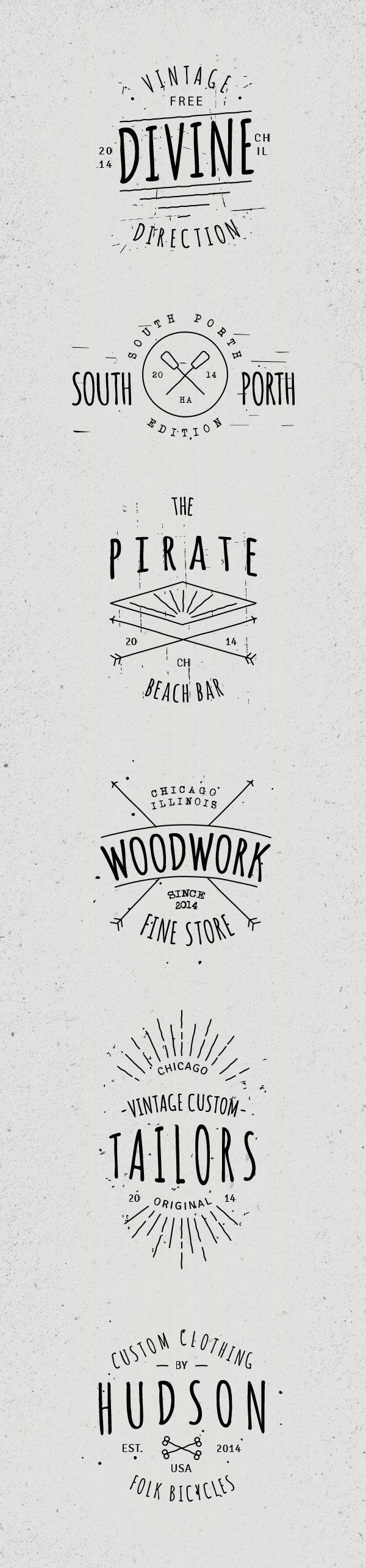 6 Vintage Hand Drawn Badges by Vlad Cristea, via Behance