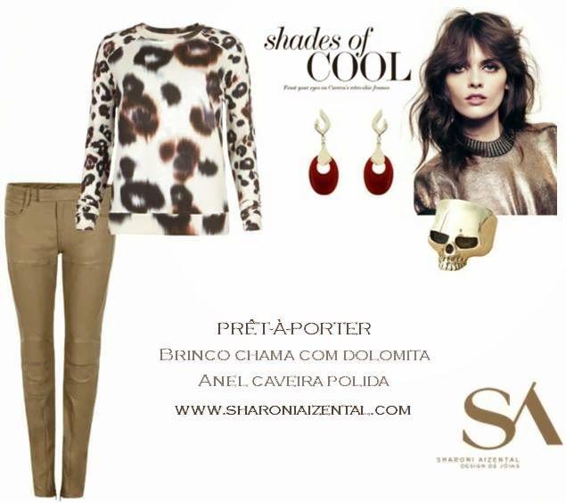 Shades of Cool, Sharoni Aizental Jewelry, skull ring, anel de caveira, brinco chama com dolomita