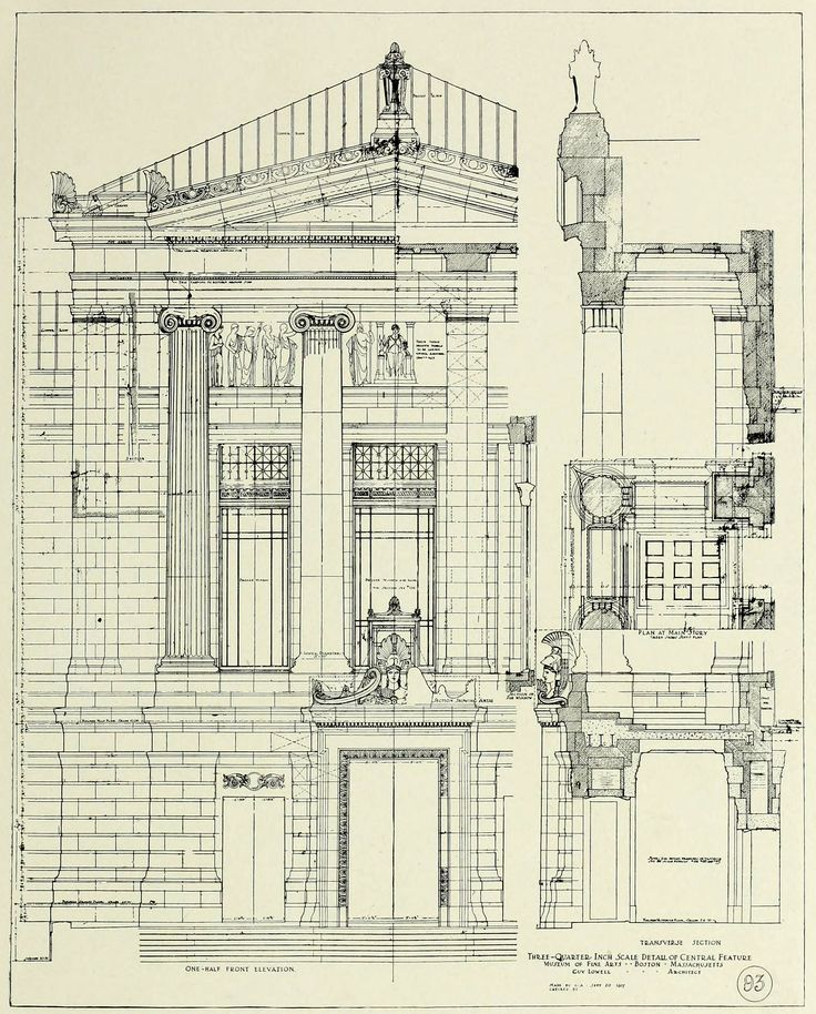 Construction plan details for the museum of fine arts for Blueprint architects