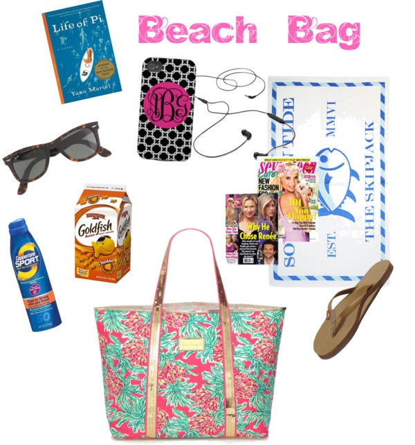 """""""Beach Bag Essentials"""" by katekinder ❤ liked on Polyvore"""