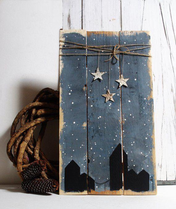 Holiday decor decorations Wooden Vintage christmas sign minimalism decorations handmade wood vintage village ornament pine fir