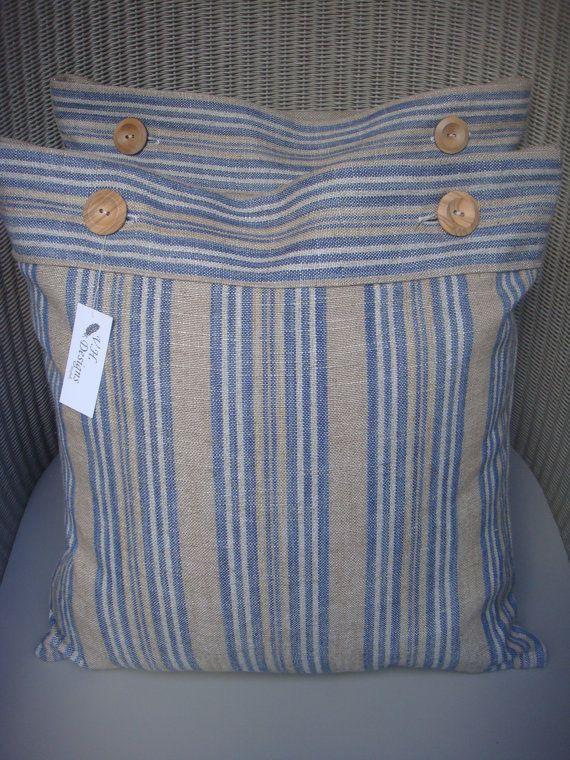 Pillow in beautiful Ian  Mankin linen stripe £11.50