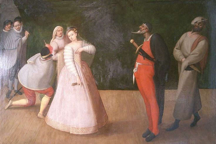 Representation of the commedia dell'arte troupe by Gelosi (1571-1604): Flemish painting from the late sixteenth century in the Musée Carnavalet in Paris. The lover, hidden, passed a message to his beloved by a matchmaker under the suspicion of big Pantalon (red and black) followed by his servant Zanni