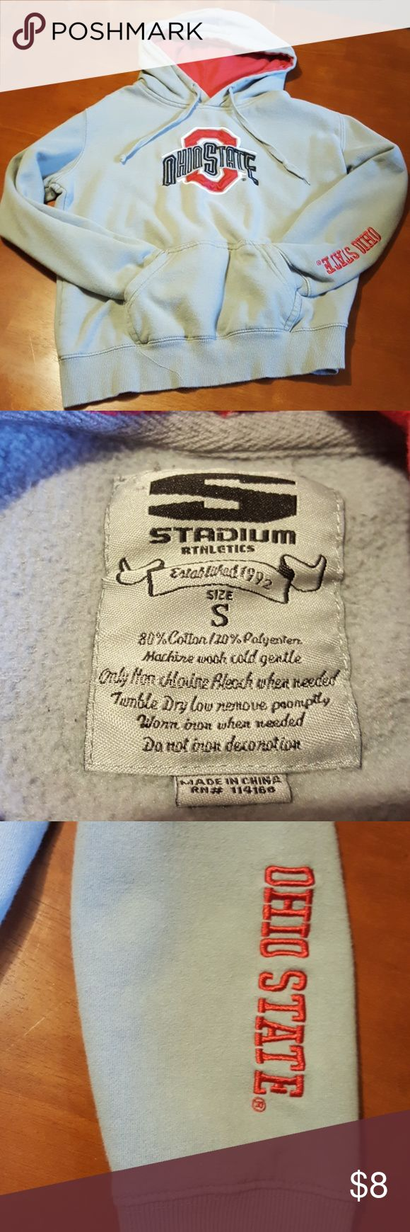 """Youth Ohio State Hoodie Size Small EUC Ohio State Hoodie. Armpit-armpit measures 19"""" and length is 21"""" No stains or tears. Smoke free home. Stadium Athletics Shirts & Tops Sweatshirts & Hoodies"""
