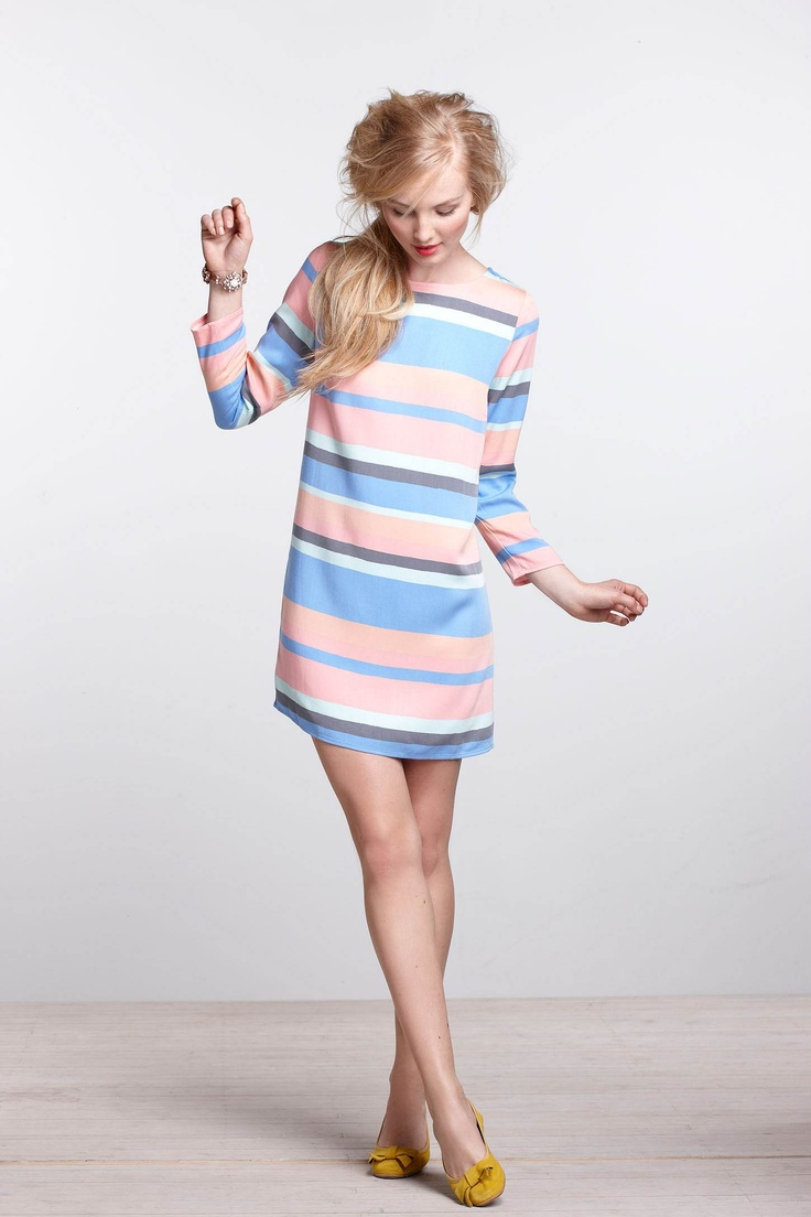 Striped Boatneck Mini Dress - Anthropologie.com