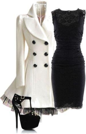 black lace dress & white coat.