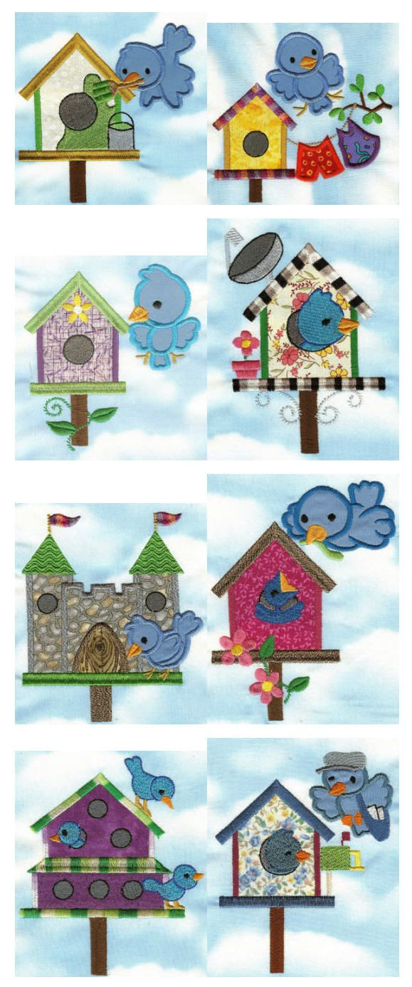 Embroidery designs | Free machine embroidery designs | Bluebirds birdhouses applique