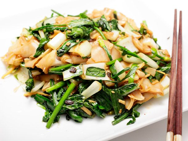 Vegan: Bok Choy With Chives, Black Bean Sauce, And Chow Fun