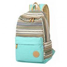 MapleClan Vintage Fashion Tribal Stripes Bohemian Women's Canvas Travel Backpack Rucksack Mint Green
