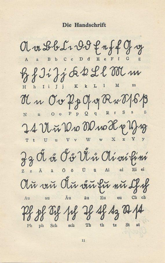 Vintage 1930s German Handwriting Guide