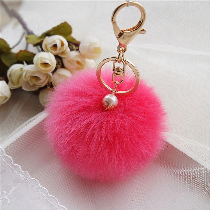 Feitong 2017 New Rabbit Fur Ball Keychain Bag Plush Car Key Ring Car Key Plush Pom Poms Ball Bag Car Ornaments Pendant Key Ring aliexpress.com