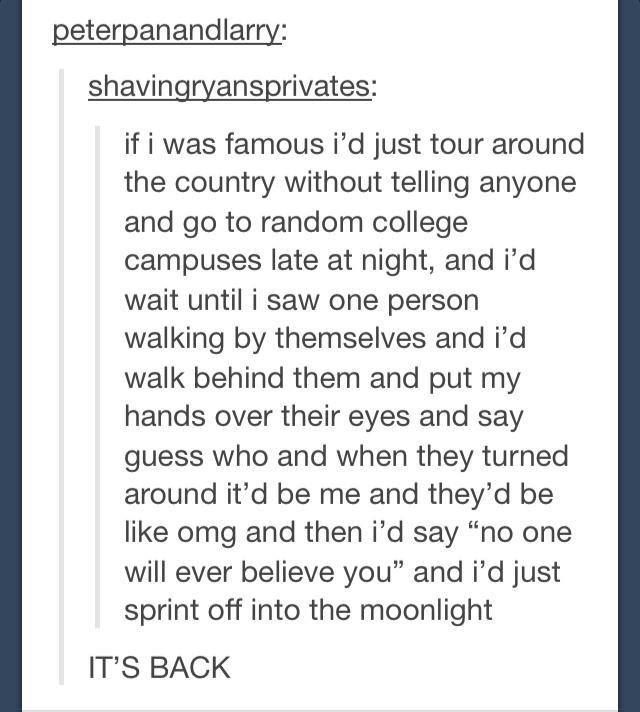 BUT I WOULD. IF I AM FAMOUS I WILL DO THIS. And also fangirl over myself with other fangirls on random websites, then skype the friends I made