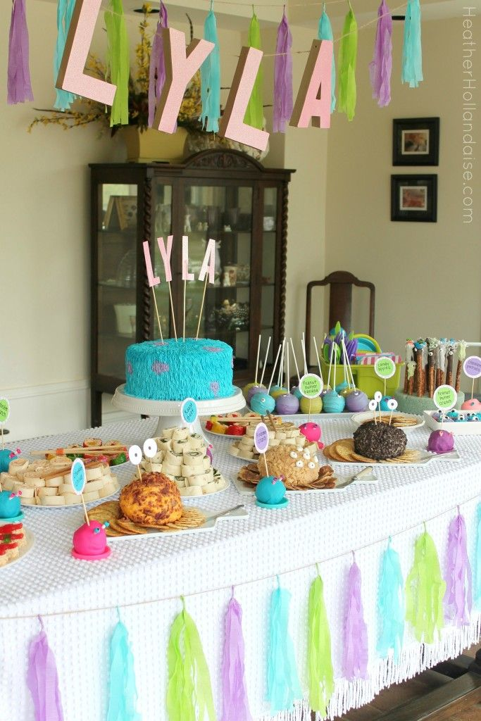 Monster's Inc Monster Mash girl's birthday party - food table with tons of monster themed party food