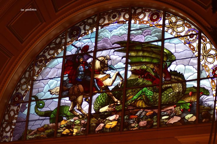 Window in St  George's hall Liverpool
