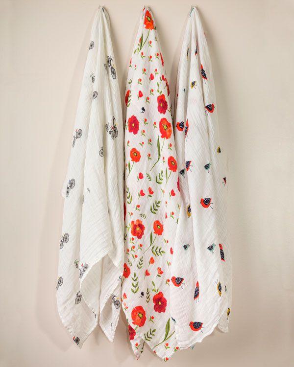 Cotton Swaddle Set - Summer Poppy | Little Unicorn