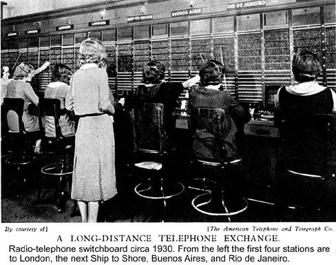 Old fashioned telephone exchange worker 92