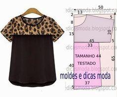 PASSO A PASSO MOLDE DE BLUSA O molde de blusa casual encontra-se no tamanho 44. Nota: A ilustração do molde blusa não tem valor de costura. Corte um retâng