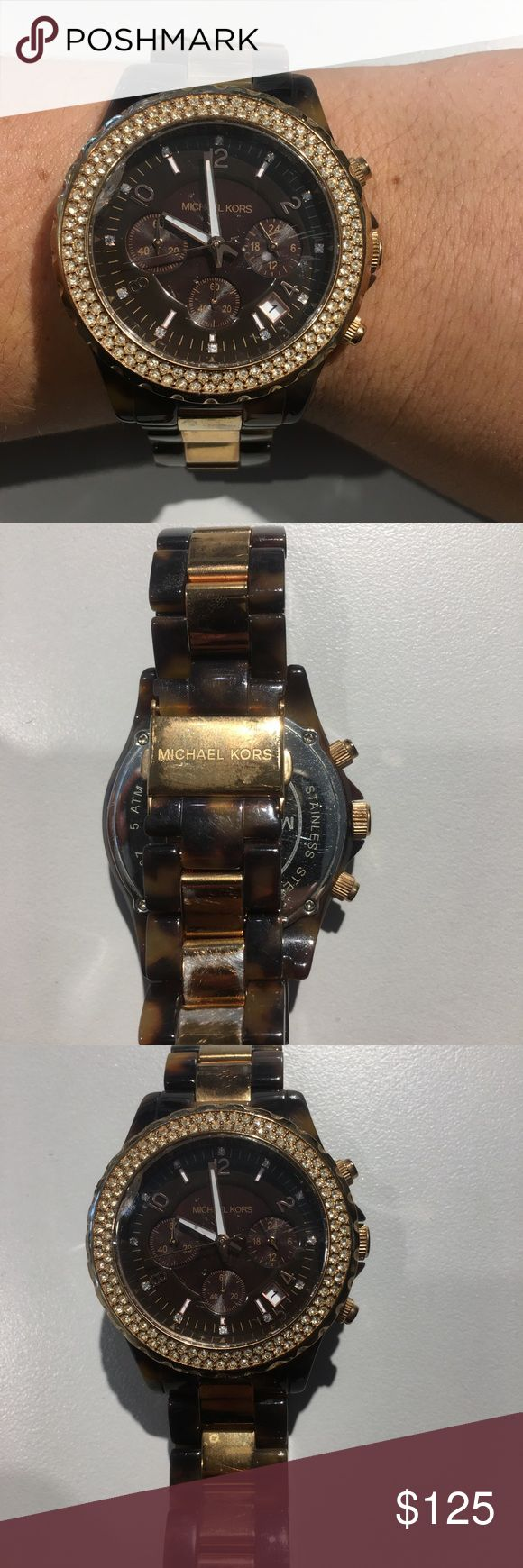 Michael kors Lexington tortoise watch Used, has scratches not too noticeable when wearing. Mark on the face Michael Kors Accessories Watches