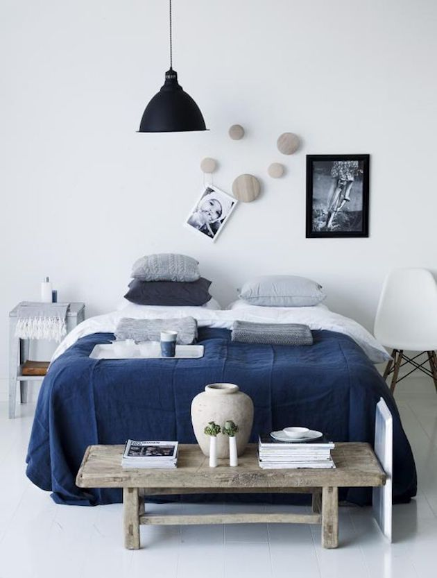 chambre blanche bleu marine bois clair - Chambre Bleu Marine Et Blanche