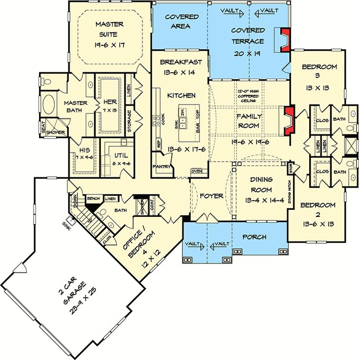 like the ba near the garage if it had only 1 door to the hall and the mstr ba his&hers sinks on either side of walk-in closet doors (do not need his&hers closets)