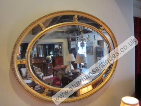 Regency Plaster Gilt Segmented Wall Mirror   Sturmans Antiques