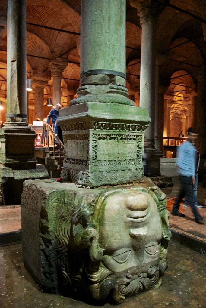 Things to do in Istanbul – Visit the Underground Cistern. The columns, were recycled from the Roman era. See the columns supported by giant Medusa head.  http://mikestravelguide.com/things-to-do-in-istanbul-visit-the-underground-cistern-basilica-cistern/
