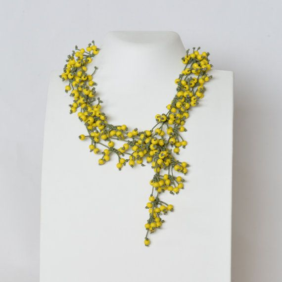 Necklace Statement Necklace Yellow Necklace Beaded by Cardoucci