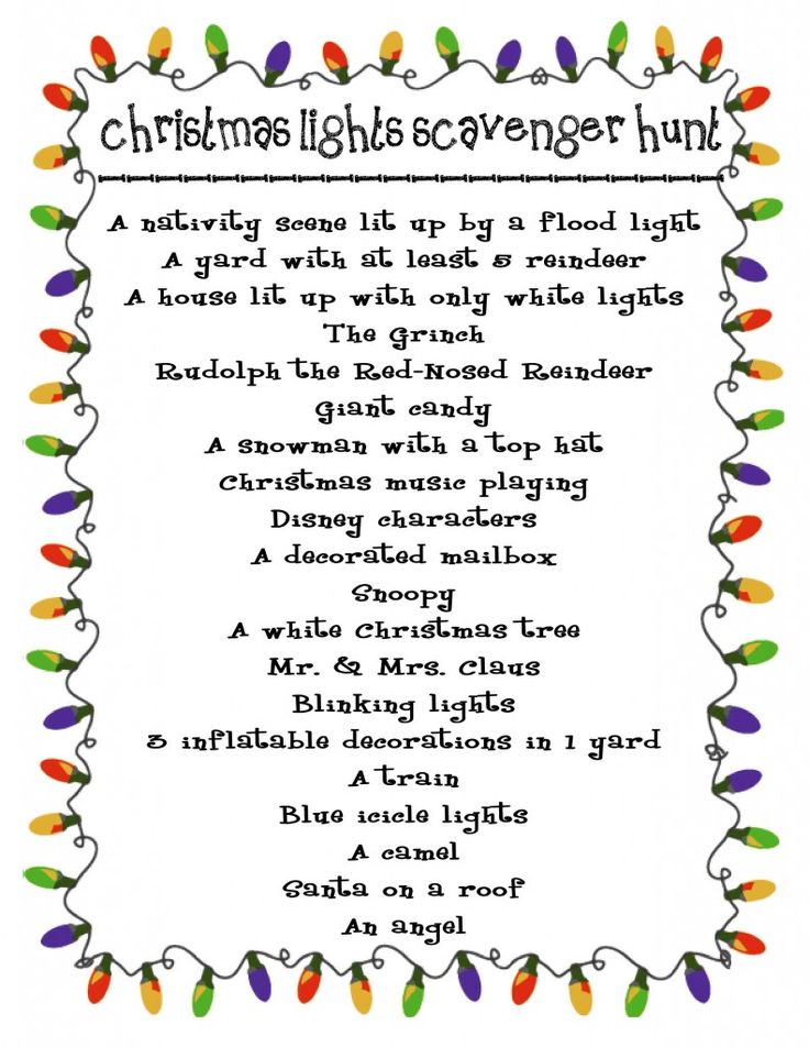 Take this Christmas Lights Scavenger Hunt along when we drive around and look at lights! There is one house we always look at that has most of these!!