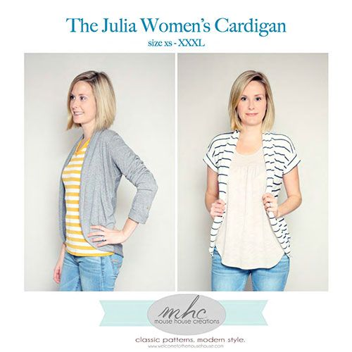 Mouse House Creations The Julia Women's Cardigan Sewing Pattern - It is time for the ladies to sew for themselves and this comfortable and easy cardigan is the perfect garment to start with! :: $9.00