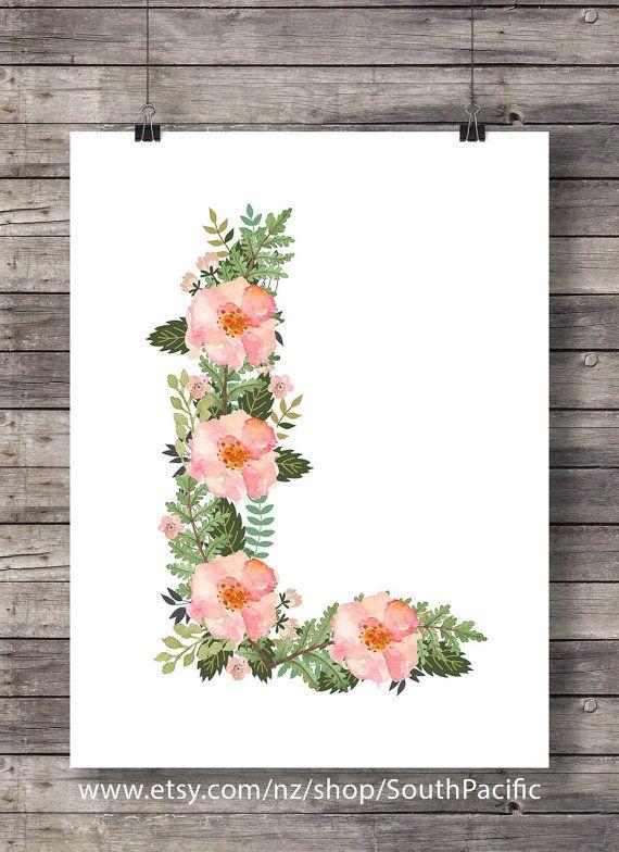 Personnalisé fleur floral de monogramme initiale art décor pépinière imprimer décor imprimable, toutes les lettres disponibles - cadeau de Noël de téléchargement immédiat