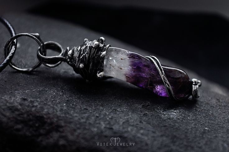 Tamed Lilac Pendant with translucent two-toned amethyst. by VitekJewelry
