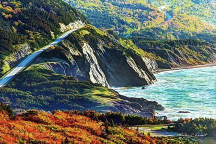 A famous vista on The Cabot Trail in Cape Breton, Nova Scotia.