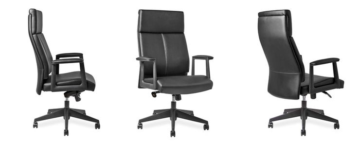 Lockable in any position,Tension adjustment control, Enhanced seat, back and armrest padding, Polished aluminium base Black bonded leather upholstery.
