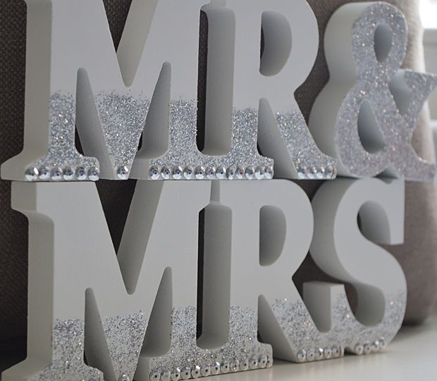 Super Simple DIY Mr And Mrs Wedding Sign Add Some Bling To Your Big Day