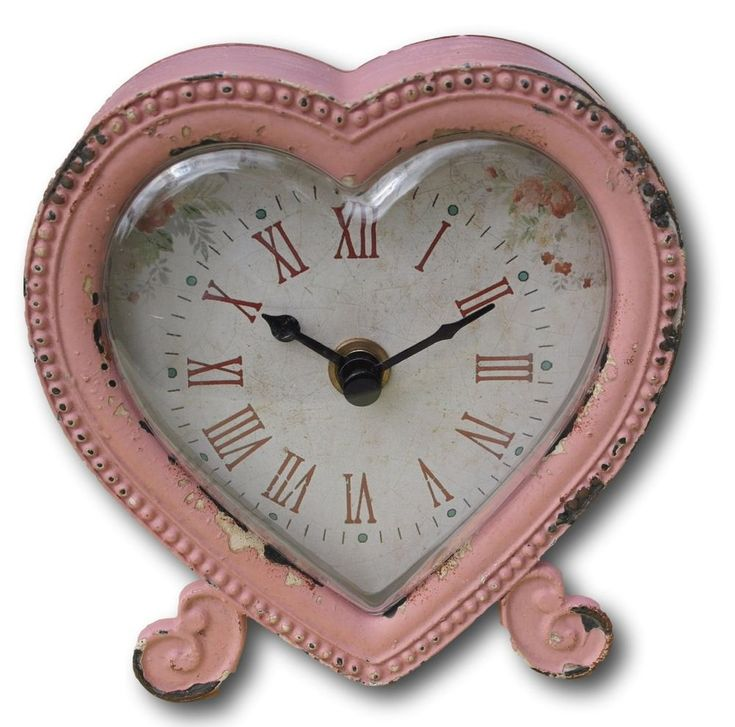Shabby chic distressed pastel pink heart shaped clock #Thorness #VintageRetro More