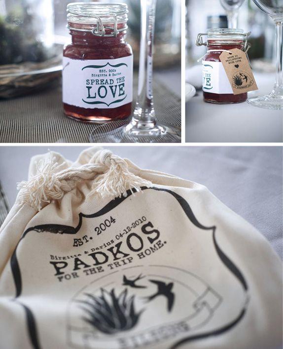 Karoo farm-style wedding favors, jam and biltong padkos