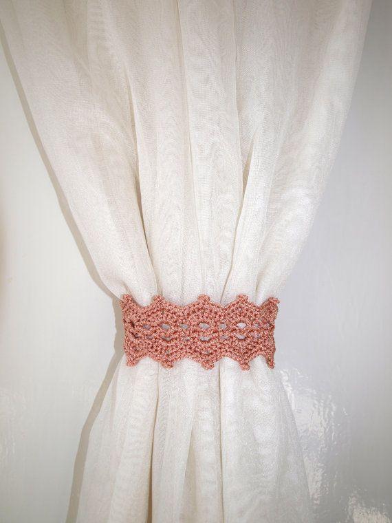 Tan+curtain+holdback+Crochet+curtain+ties+by+CrochetedCosiness