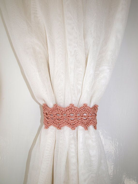 Tan+curtain+holdback+Crochet+curtain+ties+by+CrochetedCosiness