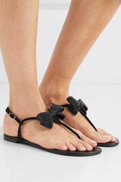 Giuseppe Zanotti - Crystal-embellished Suede Slingback Sandals - Black - IT36.5