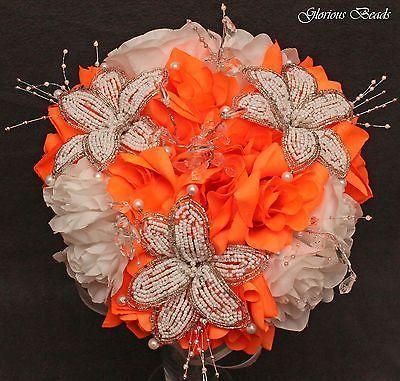 Neon-Bright-Orange-BEADED-Flower-Quinceanera-Wedding-Bouquet-16-PC-Set
